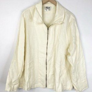 Flax Full Zip Collared Linen Jacket Ivory 1G